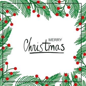 Wspaniała zima. ilustracja ramki roślin bożonarodzeniowych. rysunek na pocztówkę, plakat, tło.
