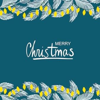 Wspaniała zimowa ilustracja ramki roślin świątecznych