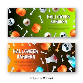 Wspaniałe banery halloweenowe z realistycznym designem