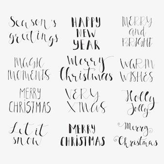 Wspaniałe i niepowtarzalne odręczne życzenia świąteczne na świąteczne kartki z życzeniami. ręcznie rysowane napis. boże narodzenie i nowy rok elementy projektu karty.