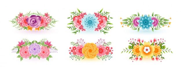 Wspaniałe kwiatowe kwiaty ustawione do celów dekoracyjnych