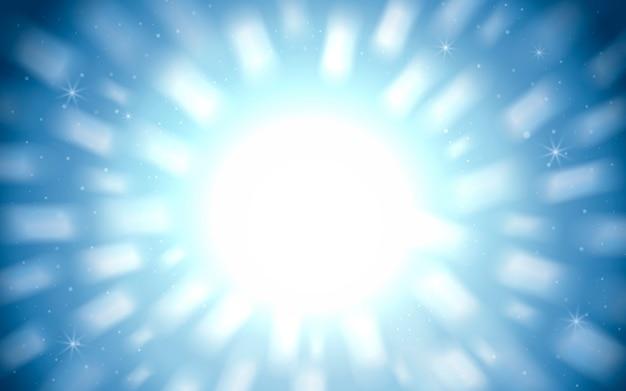 Wspaniałe tło musujące, biała poświata światła na niebieskim tle