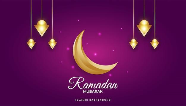 Wspaniałe tło ramadan ze złotym półksiężycem i luksusowymi latarniami