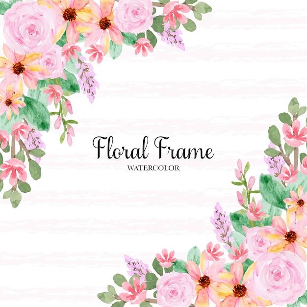 Wspaniałe żółte różowe róże ramki