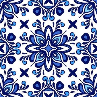 Wspaniały bezszwowy śródziemnomorski dachówka islamski wzór tła