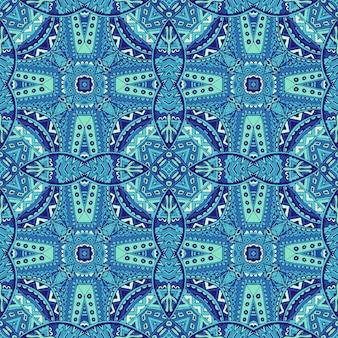 Wspaniały bezszwowy wzór dekoracyjny z niebiesko-białych orientalnych ozdób płytek