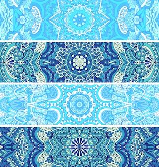 Wspaniały, bezszwowy wzór wystroju zimowego z niebiesko-białych ozdób orientalnych