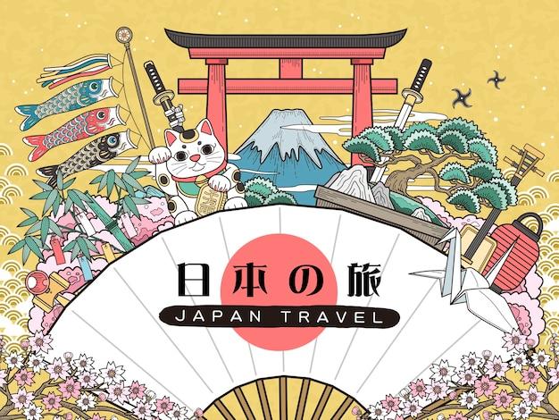 Wspaniały plakat podróżniczy japonii japonia podróżuje po japońsku na wachlarzu