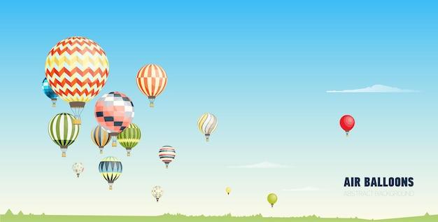 Wspaniały poziomy baner lub malowniczy krajobraz z balonami na ogrzane powietrze latającymi w czyste, błękitne niebo. festiwal pięknych samolotów załogowych. ilustracja wektorowa w stylu cartoon płaski.
