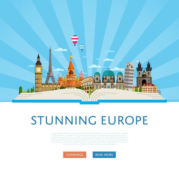 Wspaniały szablon podróży po europie ze słynnymi atrakcjami.
