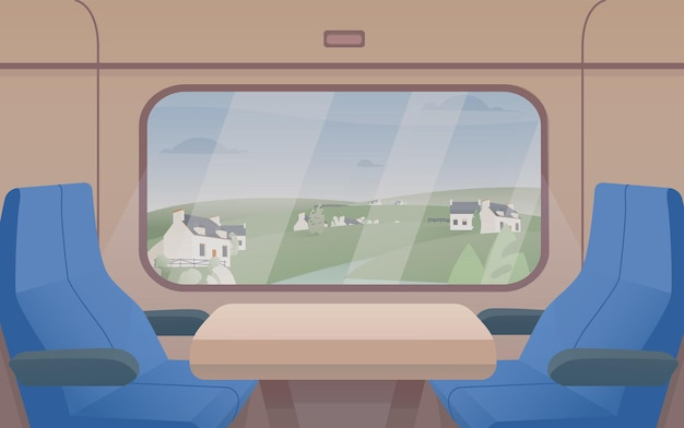 Wspaniały widok z okna pociągu i pary siedzeń