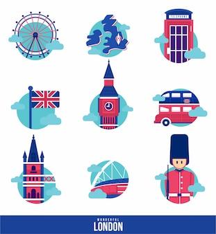 Wspaniały zestaw ikon london landmark