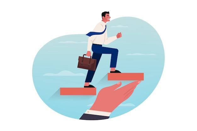 Wsparcie antykryzysowe, pomoc, inwestycje biznesowe, koncepcja kariery.