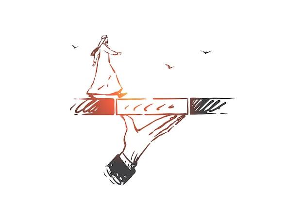 Wsparcie, Coaching, Ilustracja Szkic Koncepcji Przywództwa Premium Wektorów