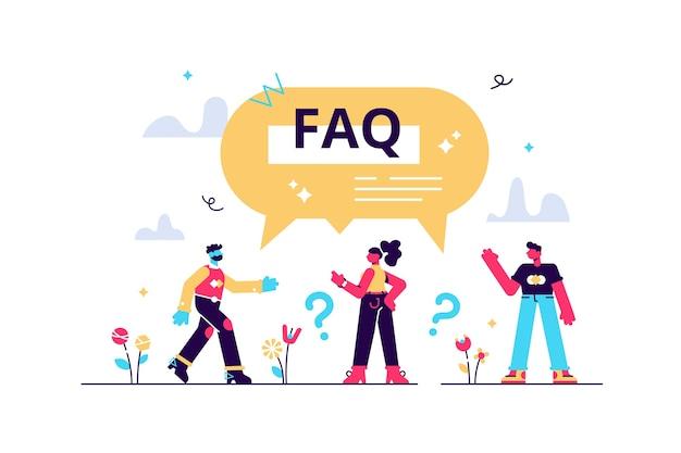 Wsparcie faq jako często zadawane pytania pomagają w koncepcji płaskich małych osób. odpowiedzi dotyczące rozwiązań dla klientów ze strony pomocy internetowej zawierającej porady. znajdź wskazówki dotyczące rozwiązywania problemów.
