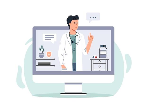 Wsparcie konsultacji medycznych online lekarz online usługi opieki zdrowotnej lekarz rodzinny-mężczyzna