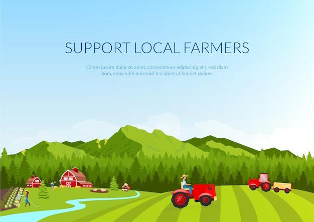 Wsparcie lokalnych rolników transparent płaski szablon