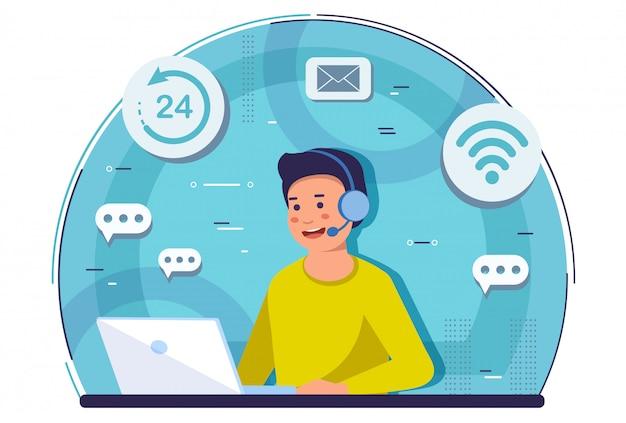 Wsparcie online. koncepcja obsługi klienta i call center.