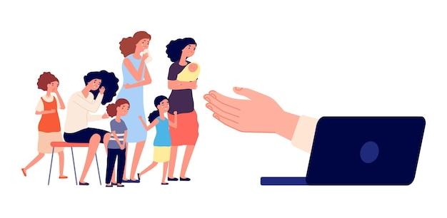 Wsparcie psychologa online. płacząca grupa kobiet, ofiary molestowania. przygnębiona dorosła kobieta i dziewczęta. ilustracja wektorowa usługi pomocy internetowej psychoterapii. wspieraj psychologa online