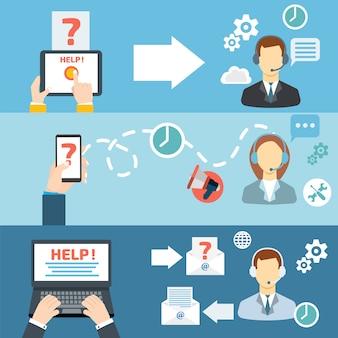 Wsparcie techniczne call center kontakt płaski baner zestaw ilustracji wektorowych