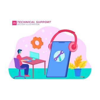 Wsparcie techniczne płaska ilustracja wsparcie komputerowe centrum serwisowe połączenie technologiczne