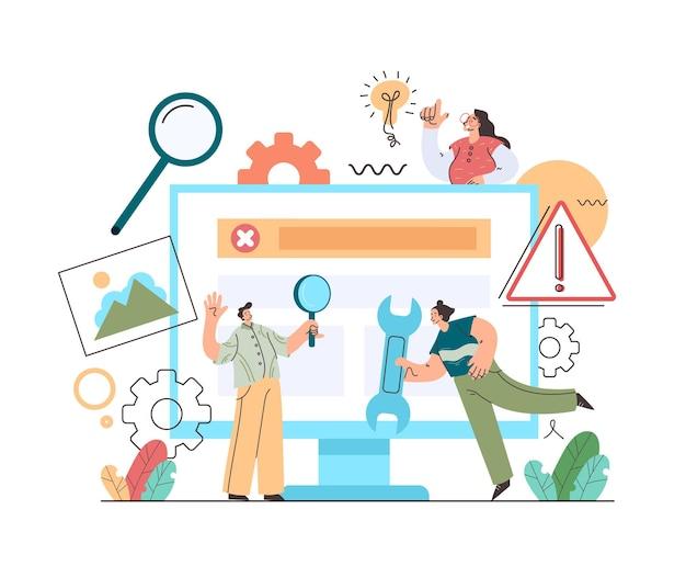 Wsparcie techniczne zespołu naprawiającego komputer postacie naprawiające koncepcję komputera