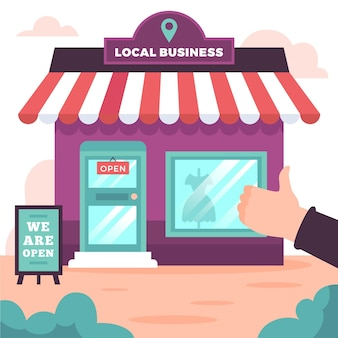 Wspiera lokalny biznes ilustracyjny projekt