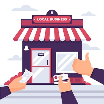 Wspiera lokalny biznesowy ilustracyjny pojęcie