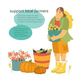 Wspieraj lokalnych rolników. kobieta rolnik trzymając kosz kwiatów z tekstem