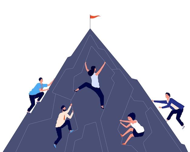 Wspinaczka biznesowa. mężczyźni kobiety aktywnie wspinają się