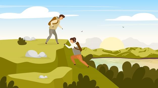 Wspinaczka grupy płaski ilustracja. para turystów na górskim wzgórzu. mężczyzna i kobieta na szczycie. wschód słońca nad strumieniem rzeki. panoramiczna scena krajobrazowa. postaci z kreskówek grupy turystycznej