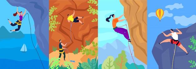 Wspinaczka ilustracja, wspinacz wspina się na górę. ekstremalna przygoda i aktywny sport na świeżym powietrzu. zestaw plakatów.