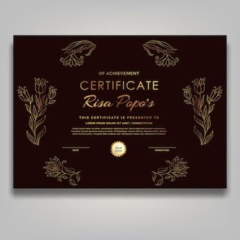 Współczesna grafika liniowa z połowy wieku złoty certyfikat kwiatowy luksus