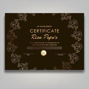 Współczesna grafika liniowa z połowy wieku złoty kwiat certyfikat luksusu