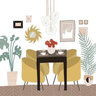 Współczesna jadalnia lub kuchnia w stylu skandynawskim ze stołem i miękkimi krzesłami, biurkiem