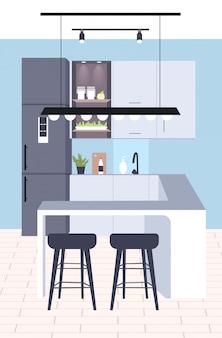 Współczesna kuchnia wnętrze puste brak osób dom pokój nowoczesne mieszkanie pionowe