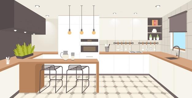 Współczesna kuchnia wnętrze puste brak osób dom pokój nowoczesny apartament poziomy