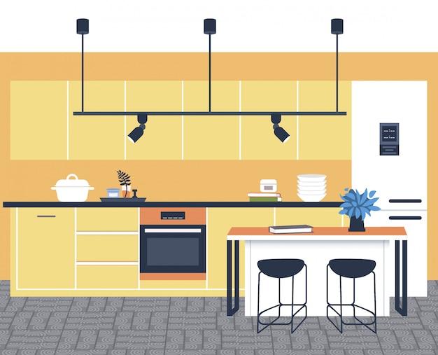Współczesna kuchnia wnętrze puste brak osób dom pokój nowoczesny apartament
