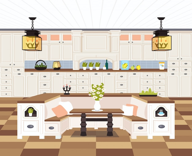 Współczesna kuchnia wnętrze puste nikt nie dom jadalnia nowoczesny apartament