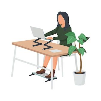 Współczesna płaska kompozycja przestrzeni roboczej z kobietą siedzącą przy biurku ze składanym stojakiem na laptopa i ilustracją nóg