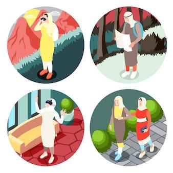 Współczesne działania życiowe muzułmanów cztery okrągłe izometryczne ilustracje