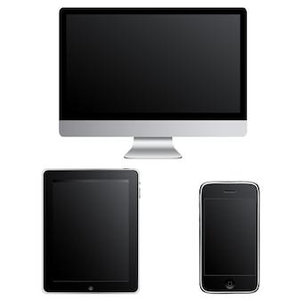 Współczesne gadżety komputer inteligentny telefon i touchpad pc izolowane