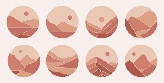 Współczesne, nowoczesne abstrakcyjne górskie krajobrazy podkreślają historie na instagramie