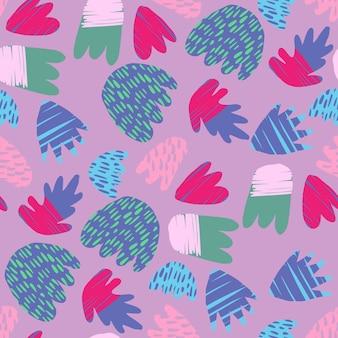 Współczesne ręcznie rysowane plamami tło. streszczenie kwiatowy kształty wzór. nowoczesne naturalne kolorowe kształty. koncepcja modnych tkanin tekstylnych