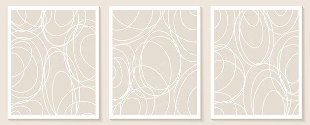 Współczesne szablony z abstrakcyjnymi kształtami i liniami w nagich kolorach.