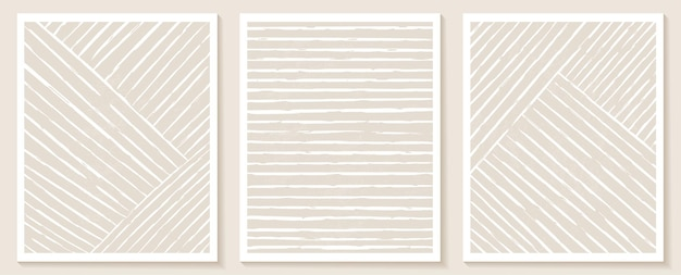 Współczesne szablony z abstrakcyjnymi kształtami i liniami w nagich kolorach