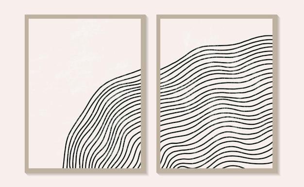 Współczesne szablony z organicznymi abstrakcyjnymi kształtami i linią w kolorach retro. pastelowe tło boho w minimalistycznym stylu połowy wieku ilustracja wektorowa