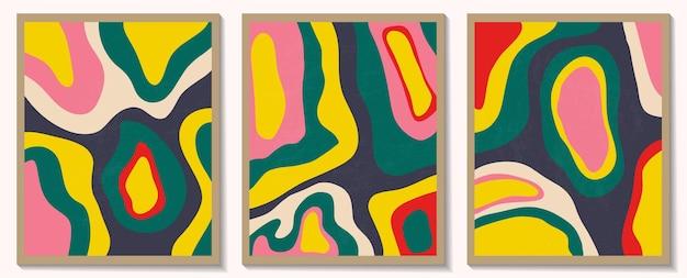 Współczesne szablony z organicznymi abstrakcyjnymi kształtami i linią w kolorach retro pastelowe tło boho w minimalistycznym stylu z połowy wieku