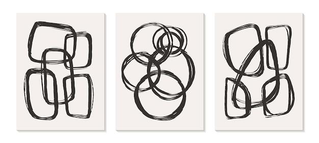 Współczesne szablony z organicznymi abstrakcyjnymi kształtami i linią w kolorach retro