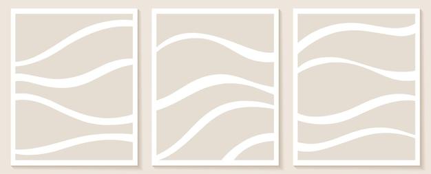 Współczesne szablony z organicznymi abstrakcyjnymi kształtami i liniami w cielistych kolorach. pastelowe tło boho w minimalistycznym stylu połowy wieku ilustracja wektorowa